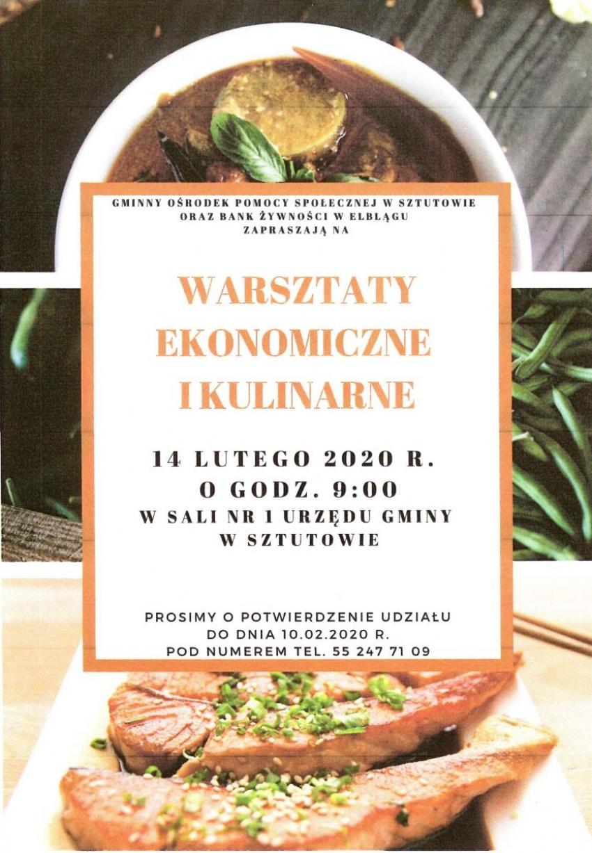 Sztutowo. Zaproszenie do udziału w warsztatach ekonomicznych i kulinarnych.