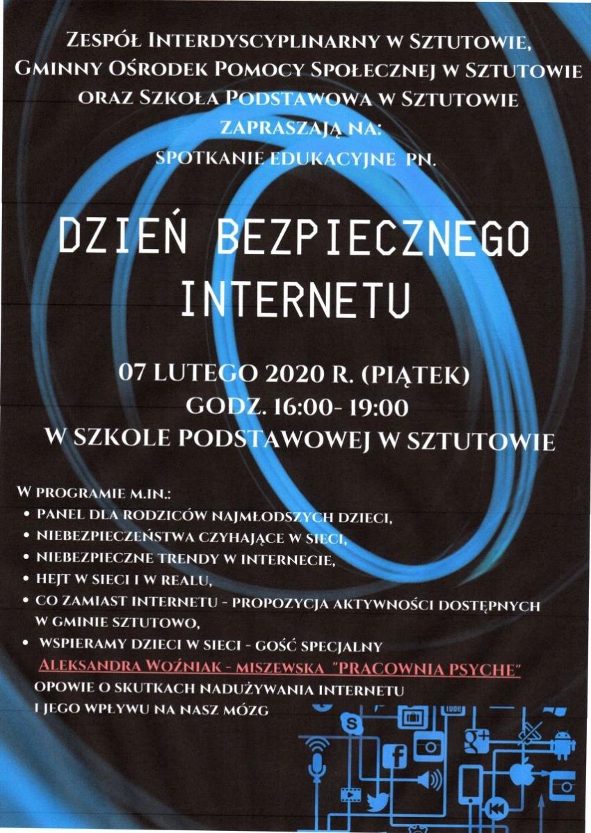 Zespół interdyscyplinarny w Sztutowie zaprasza na spotkanie edukacyjne pn. Dzień bezpiecznego internetu