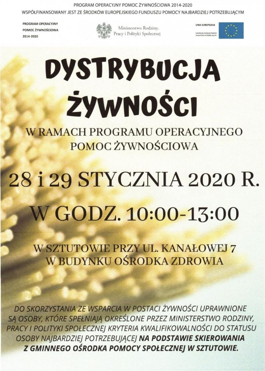 Informacja dot. terminów wydawania żywności w miesiącu styczniu 2020 r. w Gminie Sztutowo.